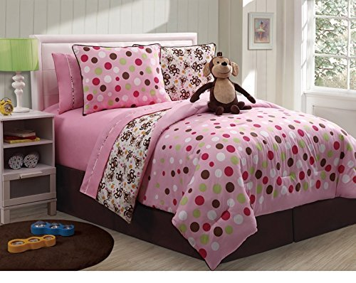 7 Pc Reversible Monkey Comforter Set Bed In A Bag Twin Size Bedding